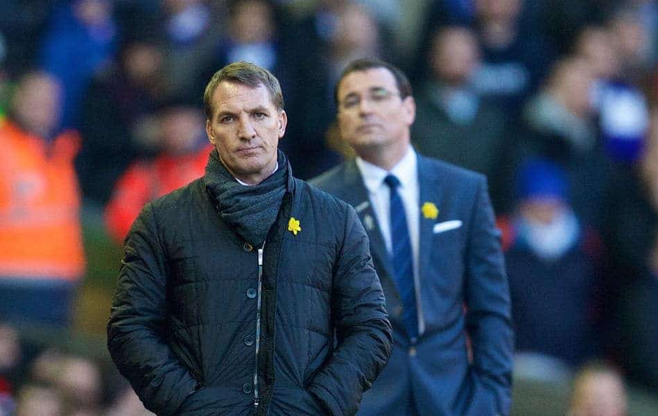 LIVERPOOL, ENGLAND - Sunday, March 8, 2015: Liverpool's manager Brendan Rodgers and Blackburn Rovers' manager Gary Bowyer during the FA Cup 6th Round Quarter-Final match at Anfield. (Pic by David Rawcliffe/Propaganda)