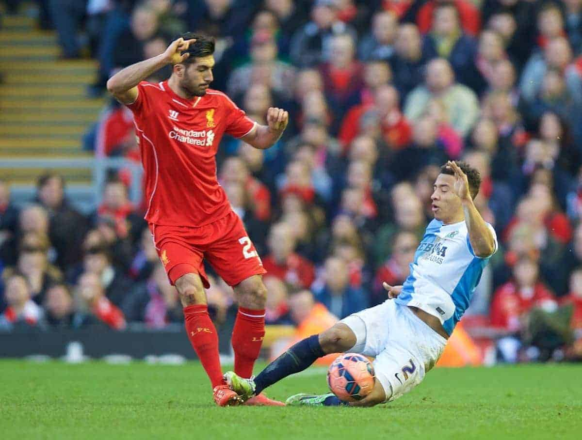 LIVERPOOL, ENGLAND - Sunday, March 8, 2015: Liverpool's Emre Can is fouled by Blackburn Rovers' Adam Henley during the FA Cup 6th Round Quarter-Final match at Anfield. (Pic by David Rawcliffe/Propaganda)