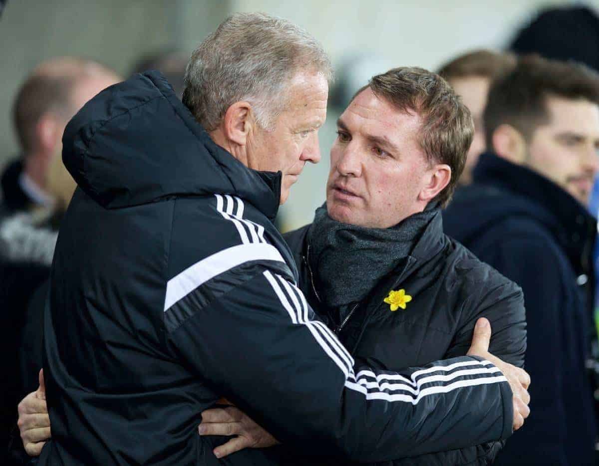 SWANSEA, ENGLAND - Monday, March 16, 2015: Liverpool's manager Brendan Rodgers and Swansea City's coach Alan Curtis before the Premier League match at the Liberty Stadium. (Pic by David Rawcliffe/Propaganda)