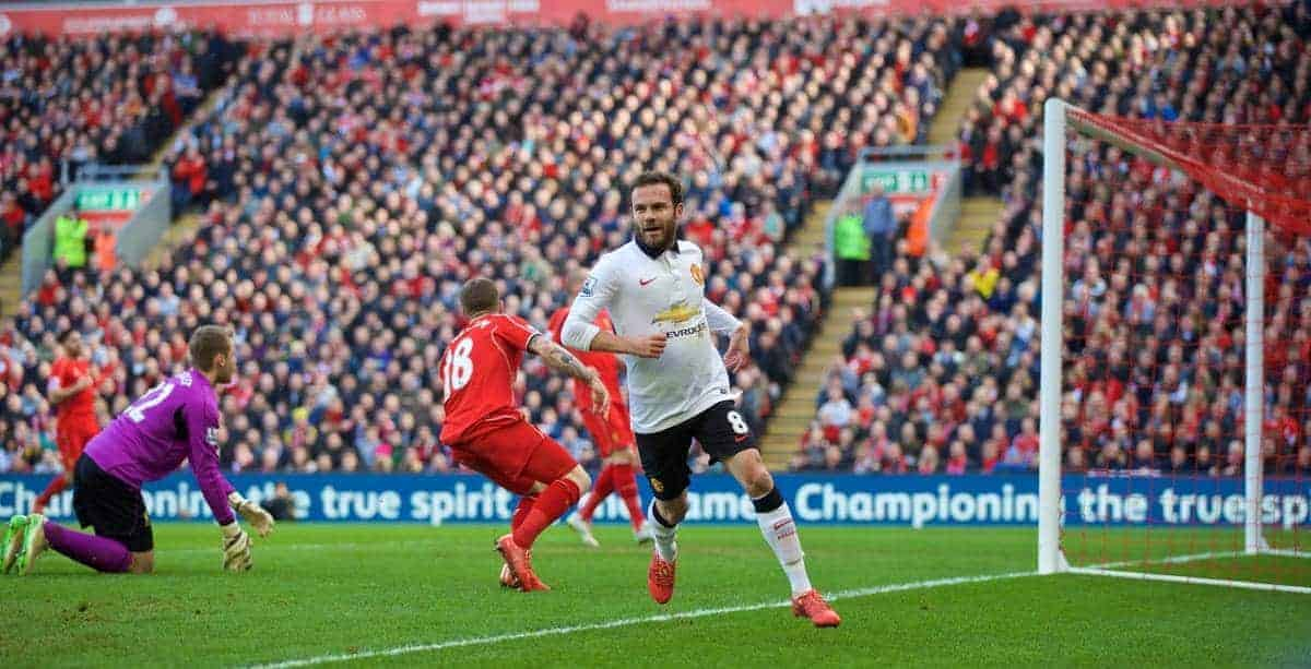 LIVERPOOL, ENGLAND - Sunday, March 22, 2015: Manchester United's Juan Mata celebrates scoring the first goal against Liverpool during the Premier League match at Anfield. (Pic by David Rawcliffe/Propaganda)