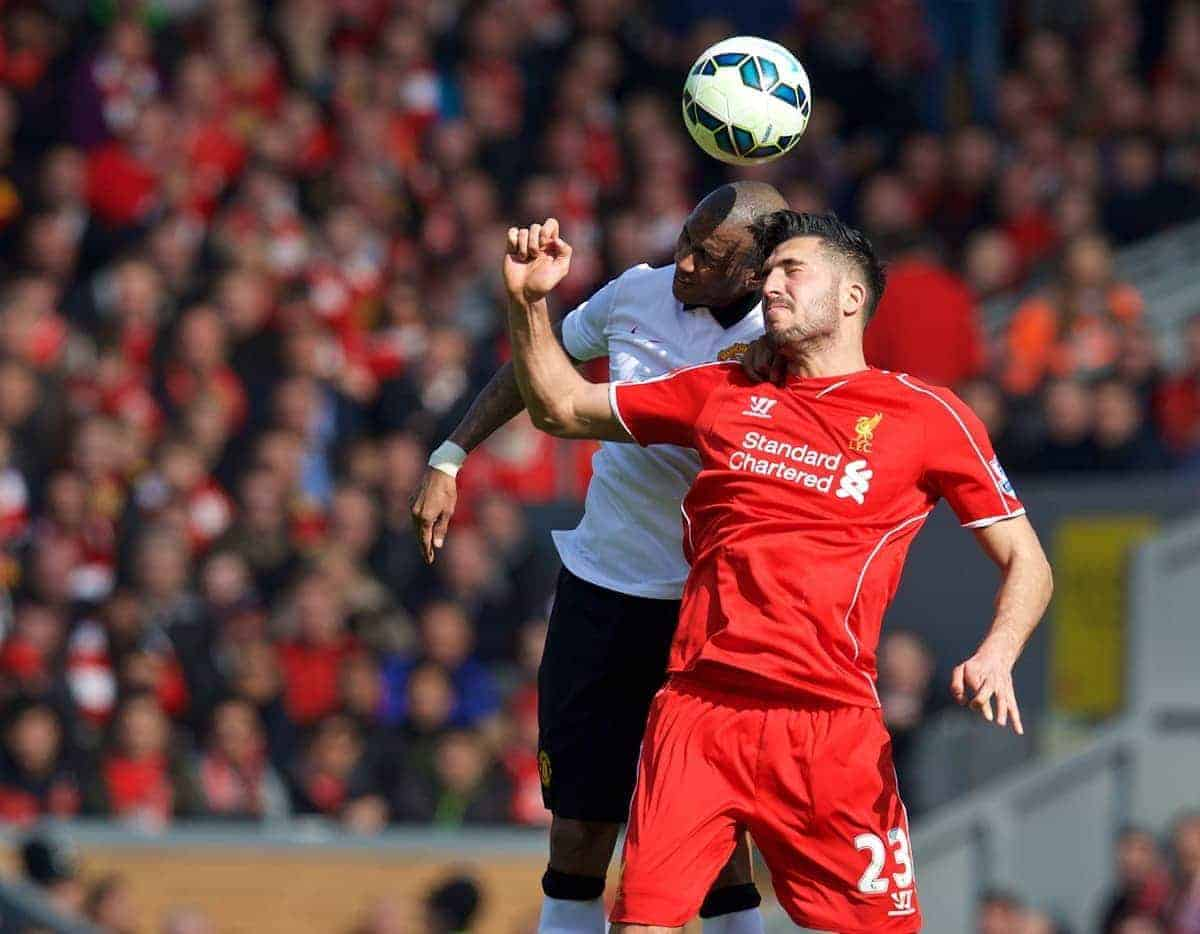 LIVERPOOL, ENGLAND - Sunday, March 22, 2015: Liverpool's Emre Can in action against Manchester United's Ashley Young during the Premier League match at Anfield. (Pic by David Rawcliffe/Propaganda)