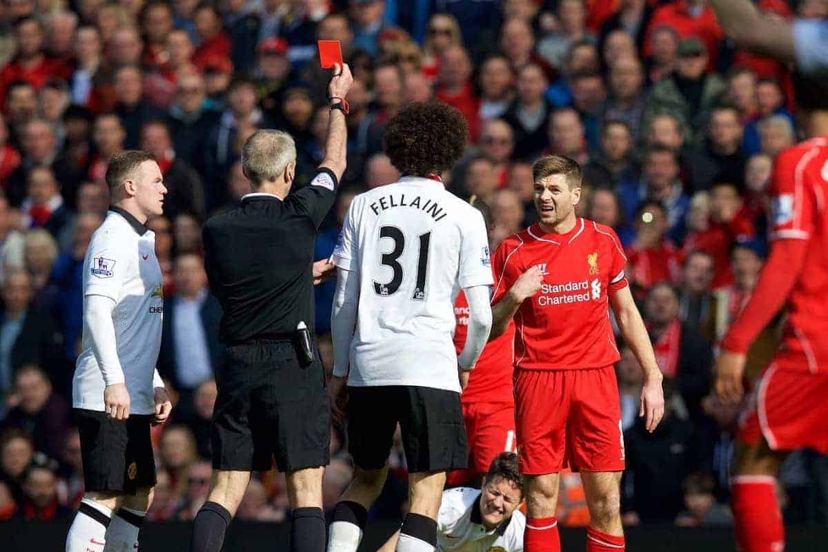 LIVERPOOL, ENGLAND - Sunday, March 22, 2015: Liverpool's captain Steven Gerrard reacts after being fouled by Manchester United's Ander Herrera, but is amazingly shown the red card by referee Martin Atkinson during the Premier League match at Anfield. (Pic by David Rawcliffe/Propaganda)