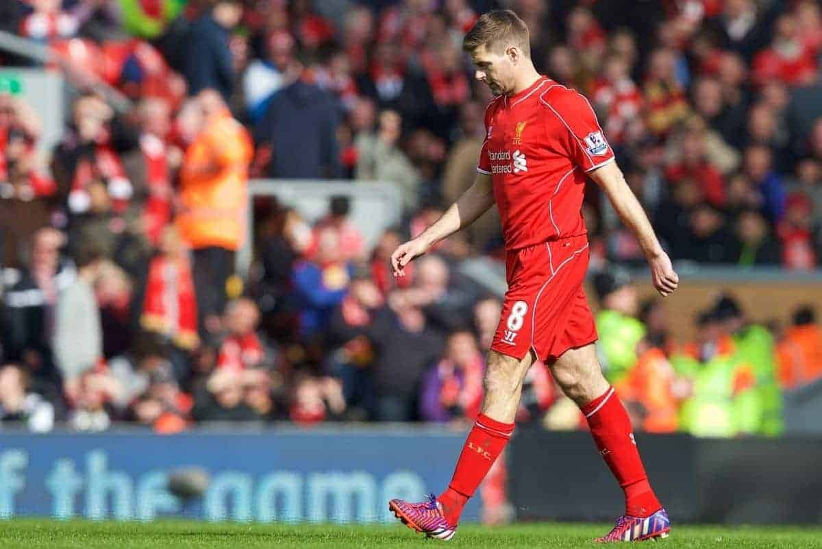 LIVERPOOL, ENGLAND - Sunday, March 22, 2015: Liverpool's captain Steven Gerrard walks off after being shown a red card during the Premier League match against Manchester United at Anfield. (Pic by David Rawcliffe/Propaganda)