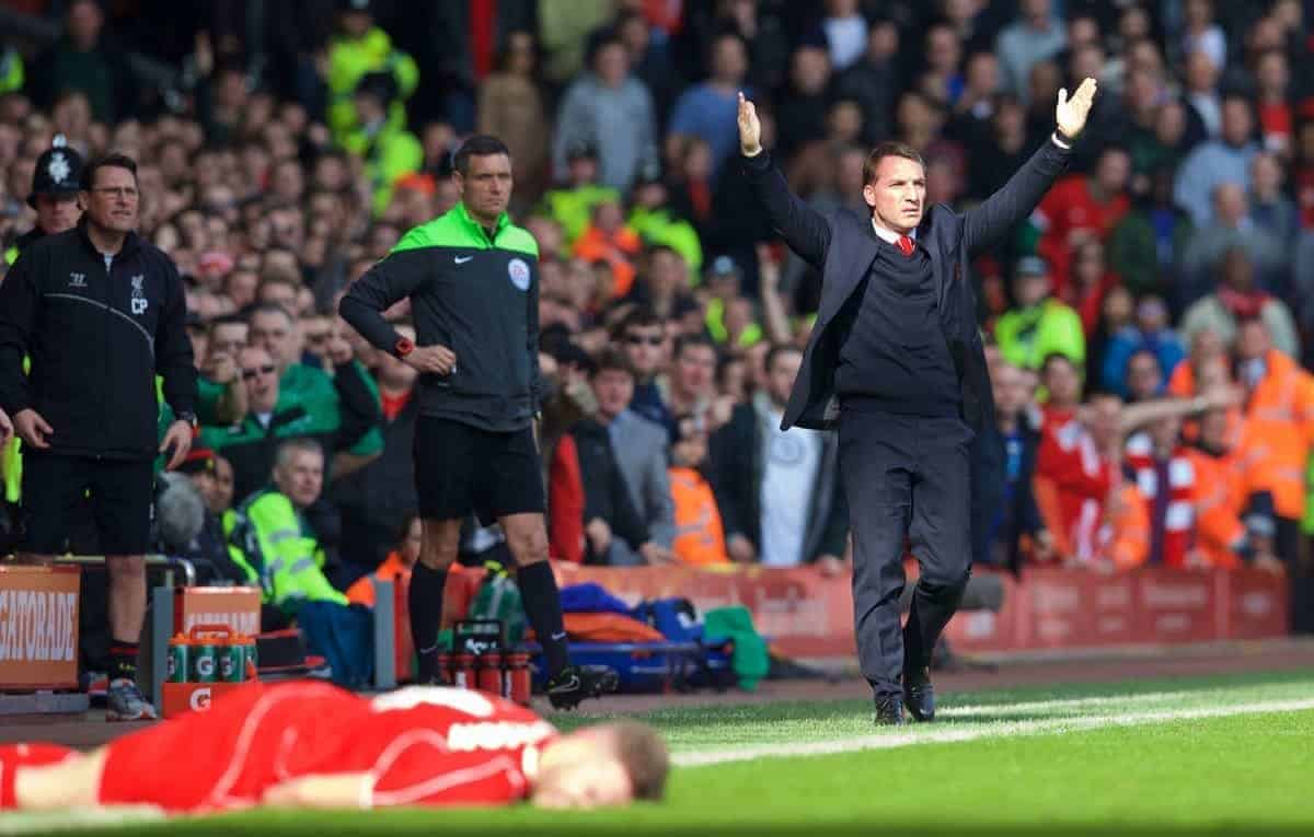 LIVERPOOL, ENGLAND - Sunday, March 22, 2015: Liverpool's manager Brendan Rodgers reacts after captain Jordan Henderson is fouled by Manchester United's Phil Jones during the Premier League match at Anfield. (Pic by David Rawcliffe/Propaganda)