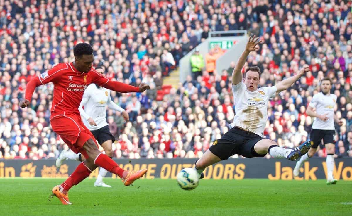 LIVERPOOL, ENGLAND - Sunday, March 22, 2015: Liverpool's Daniel Sturridge scores the first goal against Manchester United during the Premier League match at Anfield. (Pic by David Rawcliffe/Propaganda)
