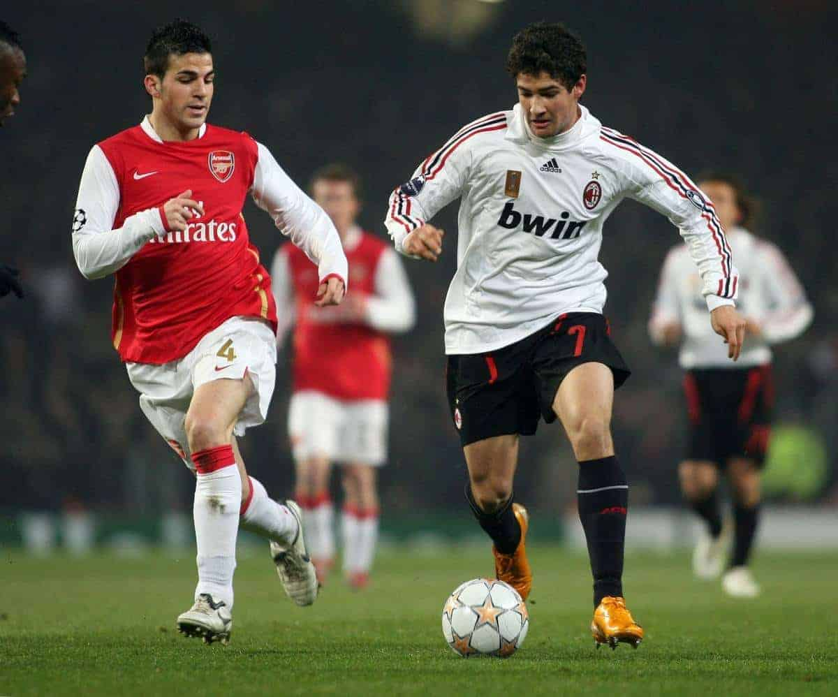 LONDON, ENGLAND - Wednesday, February 20, 2008 : Arsenal's Cesc Fabregas in action against AC Milan's Pato during the UEFA Champions 1st Knockout Round, 1st Leg match at The Emirates Stadium. (Photo by Chris Ratcliffe/Propaganda)