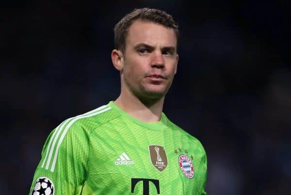 Bayern Munich's Manuel Neuer looks on during the UEFA Champions League Group E match at the City of Manchester Stadium. (Pic by Chris Brunskill/Propaganda)
