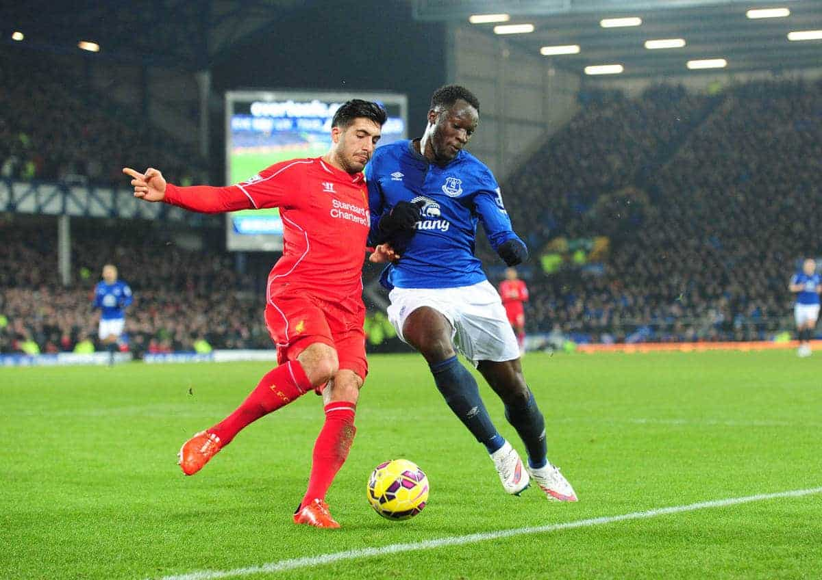 LIVERPOOL, ENGLAND - Friday, February 6, 2015: Everton's Romelu Lukaku in action with Liverpool's Emre Can during the Premier League match at Goodison Park, the 224th Merseyside Derby. (Pic by David Rawcliffe/Propaganda)