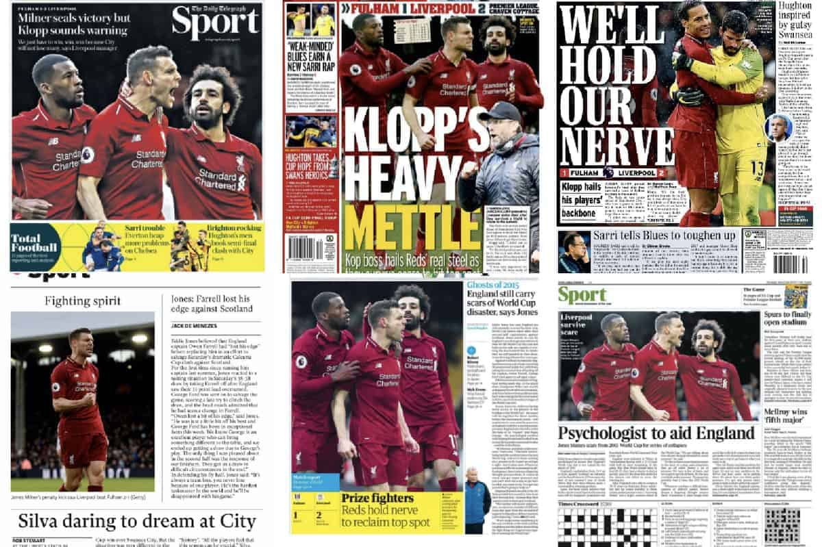 'Powers of recovery' & 'Klopp's heavy mettle' reinforce title belief