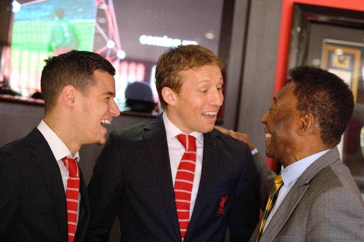 Subway Global Ambassador and greatest footballer of all time Pelé (right) meets with fellow Brazilian footballers and current Liverpool FC stars Lucas Leiva (center) and Philippe Coutinho (left) prior to the Liverpool FC v. Manchester United match in Liverpool, UK, Sunday, March 22. Subway is the official training food partner of Liverpool FC. (Photo by Anthony McArdle for SUBWAY Restaurants/Liverpool FC)