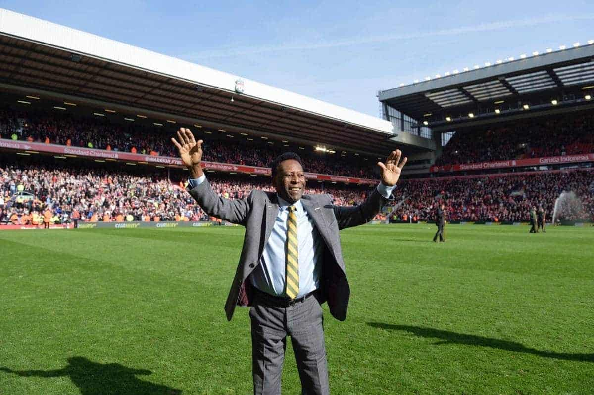 Subway Global Ambassador and global sports icon Pelé reacts to a standing ovation during a halftime ceremony at the Liverpool FC v. Manchester United match, Sunday, March 22, in Liverpool, UK. Pelé's visit marked the first time he watched a match at Anfield. (Photo by Anthony McArdle for SUBWAY Restaurants/Liverpool FC)