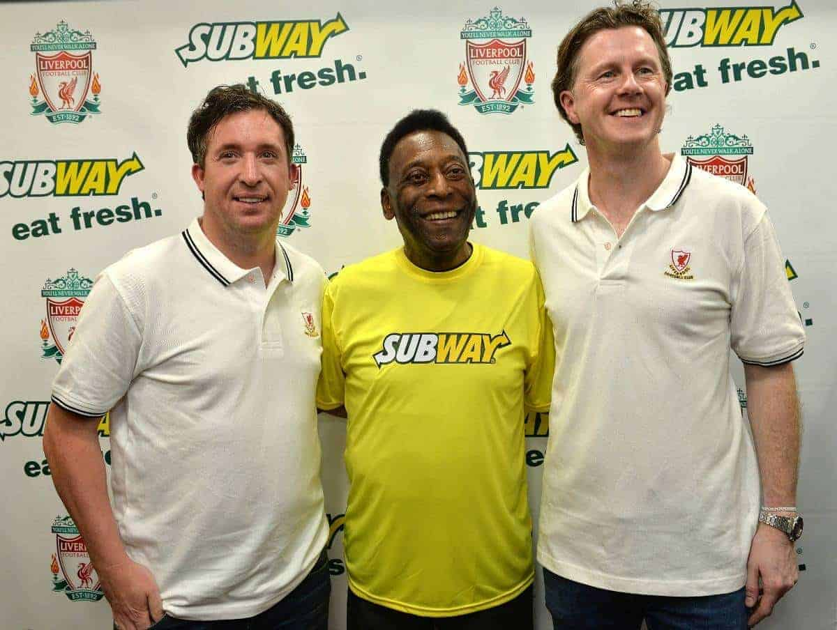 SUBWAY Global Ambassador Pelé, center, the greatest footballer of all time, meets Liverpool FC legends Robbie Fowler (left), and Steve McManaman (right) at a SUBWAY Restaurant in London, Friday, March 20, 2015, prior to the Liverpool FC v. Manchester United football match. SUBWAY Restaurants is the Official Training Food Partner of Liverpool FC. (Photo by Mark Allan/Invision for SUBWAY Restaurants/AP Images)