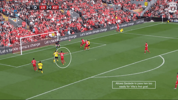 Allows Gestede to pass him too easily for Villa's first goal.
