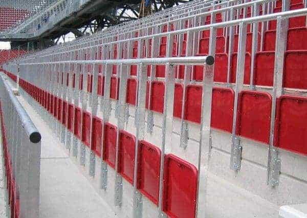 Safe standing rail seats