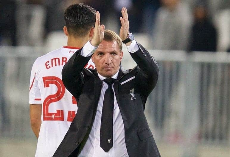 BORDEAUX, FRANCE - Thursday, September 17, 2015: Liverpool's manager Brendan Rodgers applauds the travelling supporters after the 1-1 draw with FC Girondins de Bordeaux the UEFA Europa League Group Stage Group B match at the Nouveau Stade de Bordeaux. (Pic by David Rawcliffe/Propaganda)