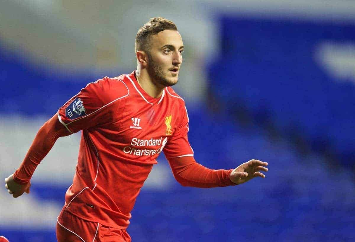 Liverpool's Samid Yesil celebrates scoring the third goal, his second, against Tottenham Hotspur during the Under 21 FA Premier League match at White Hart Lane. (Pic by David Rawcliffe/Propaganda)