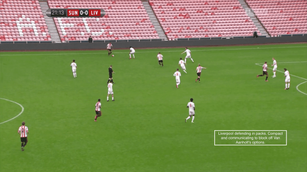 Liverpool defending in packs. Compact and communicating to block off Van Aanholt's options.