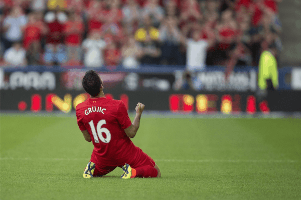 HUDDERSFIELD, ENGLAND - Wednesday, July 20, 2016: Liverpool's Marko Grujic celebrates his sides first goal to make the score 1-0 during the Shankly Trophy pre-season friendly match against Huddersfield Town at the John Smith's Stadium. (Pic by Paul Greenwood/Propaganda)
