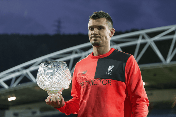 HUDDERSFIELD, ENGLAND - Wednesday, July 20, 2016: Liverpool's Dejan Lovren poses with the Shankly Trophy after the Shankly Trophy pre-season friendly match against Huddersfield at the John Smith's Stadium. (Pic by Paul Greenwood/Propaganda)