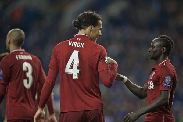 PORTO, PORTUGAL - Wednesday, April 17, 2019: Liverpool's Virgil van Dijk (L) celebrates scoring the fourth goal with team-mate Sadio Mane during the UEFA Champions League Quarter-Final 2nd Leg match between FC Porto and Liverpool FC at Estádio do Dragão. (Pic by David Rawcliffe/Propaganda)