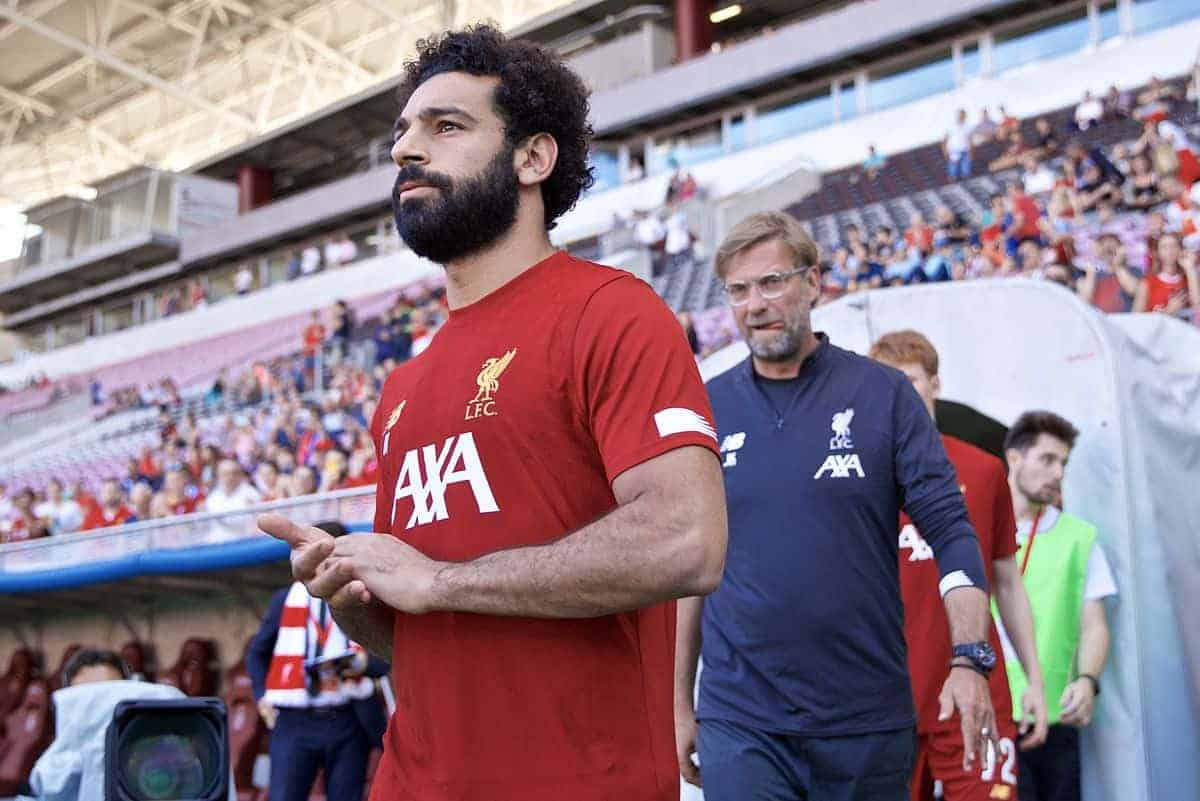 GENEVA, SWITZERLAND - Wednesday, July 31, 2019: Liverpool's Mohamed Salah and manager Jürgen Klopp before a pre-season friendly match between Liverpool FC and Olympique Lyonnais at Stade de Genève. (Pic by David Rawcliffe/Propaganda)