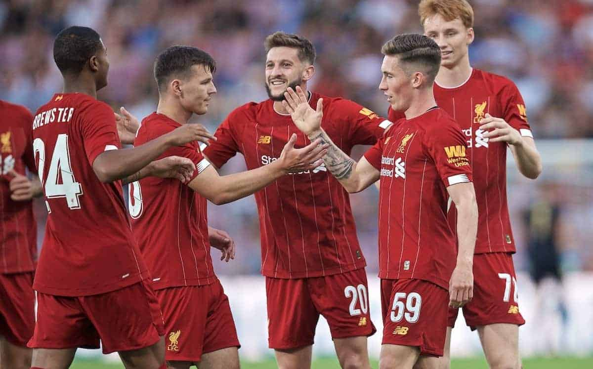 GENEVA, SWITZERLAND - Wednesday, July 31, 2019: Liverpool's Harry Wilson (2nd from R) celebrates scoring the third goal during a pre-season friendly match between Liverpool FC and Olympique Lyonnais at Stade de Genève. (Pic by David Rawcliffe/Propaganda)