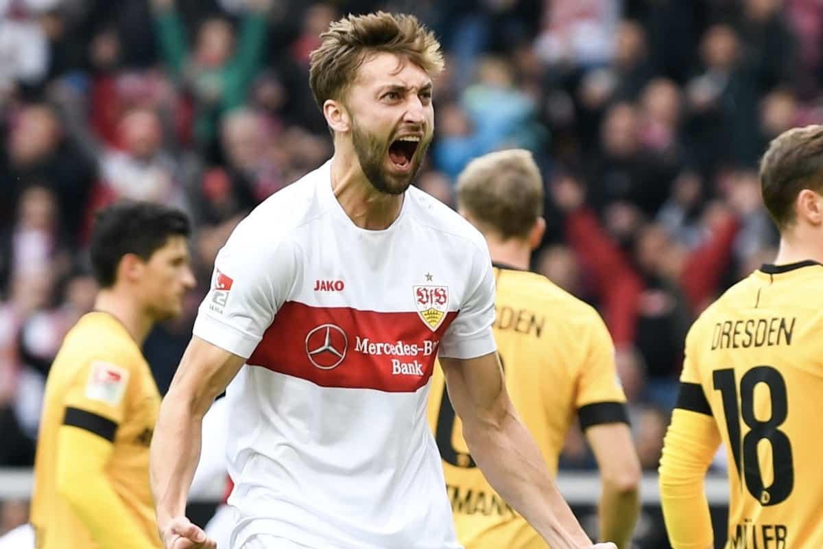 03 November 2019, Baden-Wuerttemberg, Stuttgart: Soccer: 2nd Bundesliga, 12th matchday, VfB Stuttgart - Dynamo Dresden, Mercedes-Benz Arena. Nathaniel Phillips (l) from VfB Stuttgart reacts after the goal to 1:0 Photo: Tom Weller/dpa - IMPORTANT NOTE: In accordance with the requirements of the DFL Deutsche Fu?ball Liga or the DFB Deutscher Fu?ball-Bund, it is prohibited to use or have used photographs taken in the stadium and/or the match in the form of sequence images and/or video-like photo sequences.