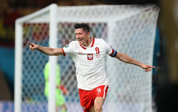Robert Lewandowski of Poland celebrates after scoring their side's first goal during the UEFA Euro 2020 Championship Group E match between Spain and Poland at Estadio La Cartuja on June 19, 2021 in Seville, Spain. (Photo by Fran Santiago - UEFA/UEFA via Getty Images)