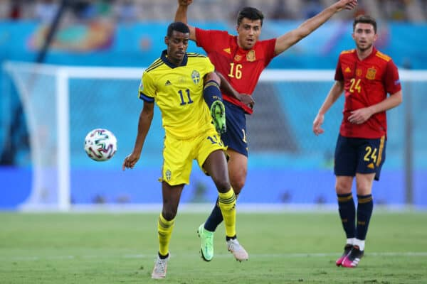 SEVILLE, SPAIN - JUNE 14: Alexander Isak of Sweden battles for possession with Rodri of Spain during the UEFA Euro 2020 Championship Group E match between Spain and Sweden at the La Cartuja Stadium on June 14, 2021 in Seville, Spain. (Photo by Fran Santiago - UEFA/UEFA via Getty Images)