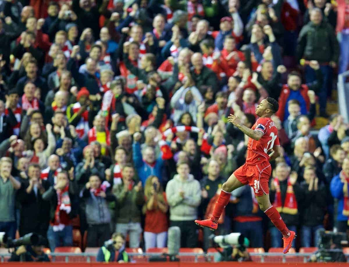LIVERPOOL, ENGLAND - Monday, April 13, 2015: Liverpool's Raheem Sterling celebrates scoring the first goal against Newcastle United during the Premier League match at Anfield. (Pic by David Rawcliffe/Propaganda)