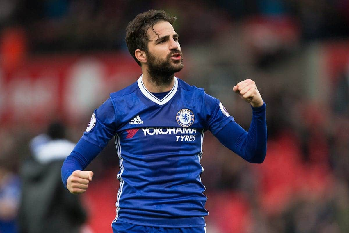 STOKE-ON-TRENT, ENGLAND - Saturday, March 18, 2017: Chelsea's Cesc Fabregas celebrates a 2-1 win against Stoke City during the FA Premier League match at the Bet365 Stadium. (Pic by Laura Malkin/Propaganda)