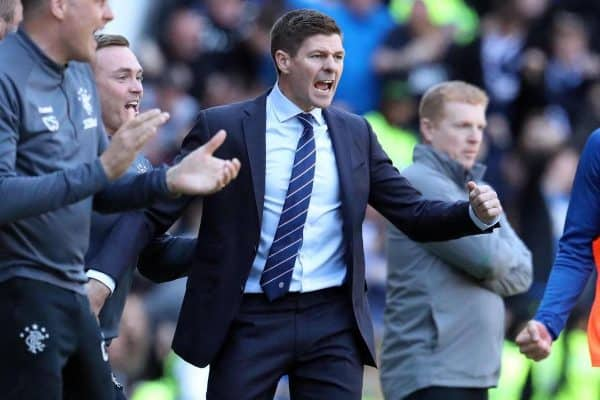 T8CH9C Rangers manager Steven Gerrard celebrates a Rangers goal during the Ladbrokes Scottish Premiership match at Ibrox Stadium, Glasgow.