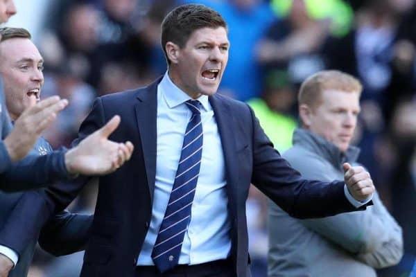 Rangers manager Steven Gerrard celebrates a Rangers goal during the Ladbrokes Scottish Premiership match at Ibrox Stadium, Glasgow.