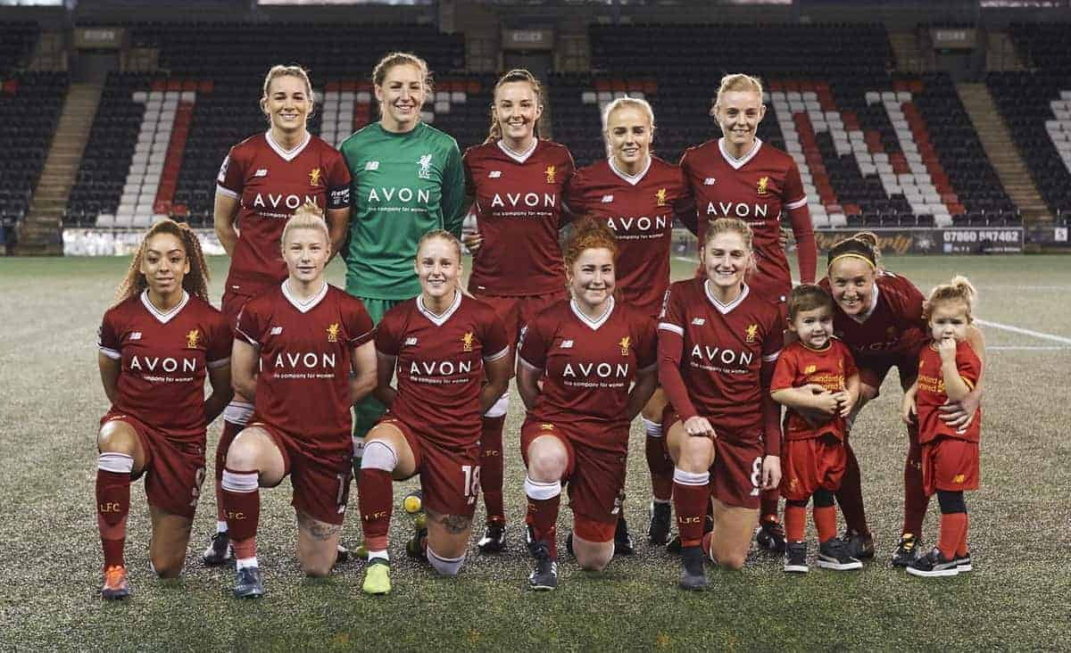 Liverpool Ladies team (l-r, back: Gemma Bonner, Siobhan Chamberlain, Caroline Weir, Alex Greenwood, Sophie Ingle, front: Jess Clarke, Bethany England, Ali Johnson, Martha Harris, Laura Coombs and Casey Stoney) to face Bristol City Women during the Liverpool Ladies v Bristol City Women WSL game at Select Security Stadium on January 27, 2018 in Widnes, England. (Photo by Nick Taylor/Liverpool FC/Liverpool FC via Getty Images)