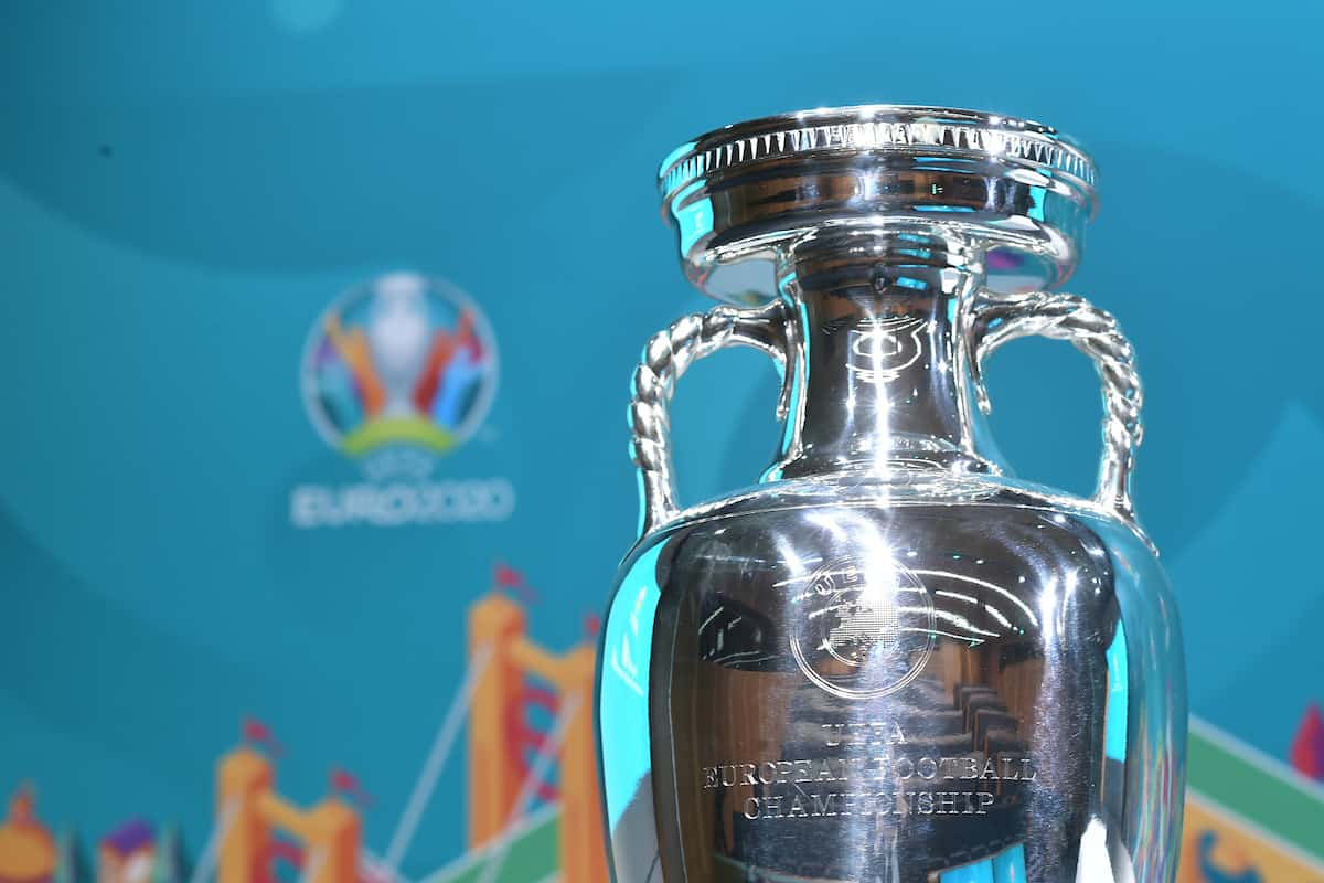 NYON,SWITZERLAND - NOVEMBER 22: The UEFA EURO trophy on stage before the UEFA EURO 2020 Play-offs Draw at UEFA Headquarters on November 22, 2019 in Nyon, Switzerland. (Photo by Alexander Scheuber - UEFA/UEFA via Getty Images)