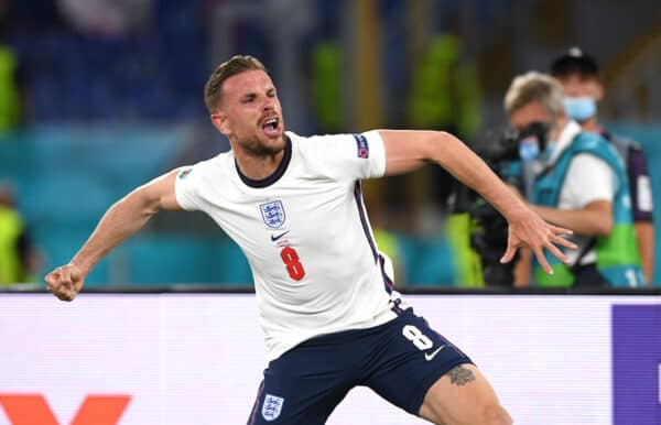 ROME, ITALY - JULY 03: England's Jordan Henderson celebrates after scoring the fourth goal during the UEFA Euro 2020 Championship Quarter-final match between Ukraine and England at Olimpico Stadium on July 03, 2021 in Rome, Italy. (Photo by Chris Ricco - UEFA)