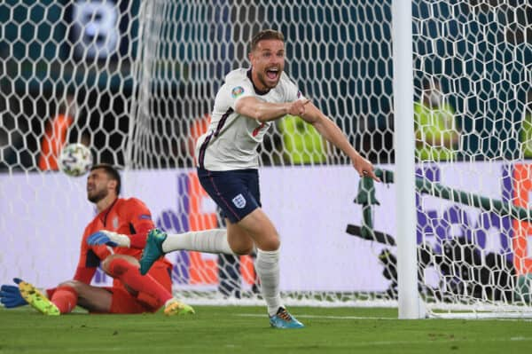 England's Jordan Henderson celebrates after scoring the fourth goal during the UEFA Euro 2020 Championship Quarter-final match between Ukraine and England at Olimpico Stadium on July 03, 2021 in Rome, Italy. (Photo by Chris Ricco - UEFA)