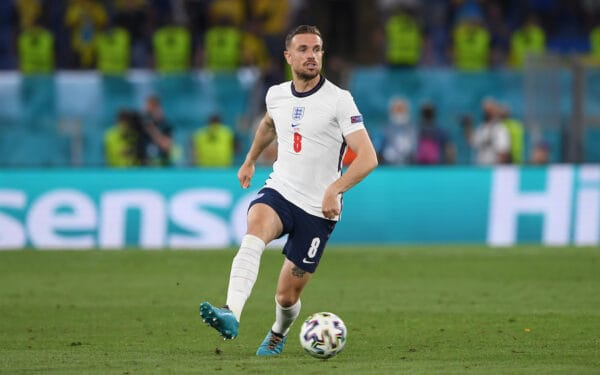 ROME, ITALY - JULY 03: England's Jordan Henderson during the UEFA Euro 2020 Championship Quarter-final match between Ukraine and England at Olimpico Stadium on July 03, 2021 in Rome, Italy. (Photo by Chris Ricco - UEFA)