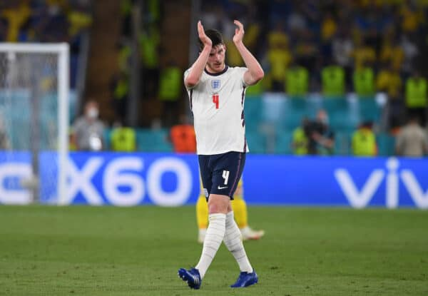 England's Declan Rice during the UEFA Euro 2020 Championship Quarter-final match between Ukraine and England at Olimpico Stadium on July 03, 2021 in Rome, Italy. (Photo by Chris Ricco - UEFA)