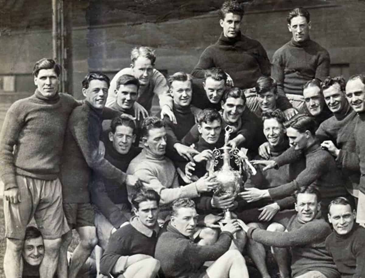 (Please credit within piece: The Wadsworth family) Liverpool's 'Untouchables', back-to-back First Division winners, 1921/22 and 1922/23; Walter Wadsworth in centre, with trophy