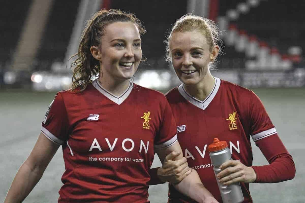 Caroline Weir (left) and Sophie Ingle of Liverpool Ladies after the Liverpool Ladies v Bristol City Women WSL game at Select Security Stadium on January 27, 2018 in Widnes, England. (Photo by Nick Taylor/Liverpool FC/Liverpool FC via Getty Images)