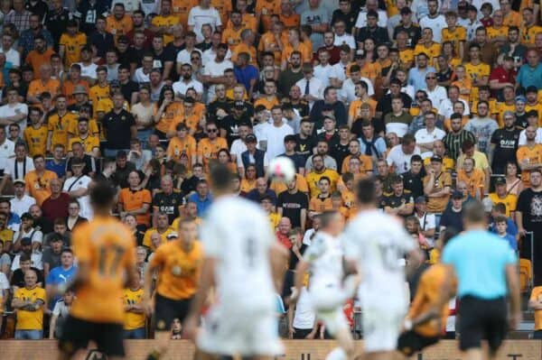 Wolves' fans in safe standing during a Europa League qualifier in July 2019 (Nick Potts/PA)