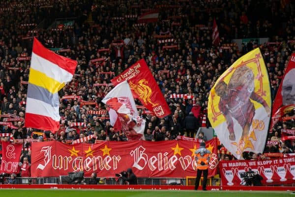 LIVERPOOL, ENGLAND - Saturday, March 7, 2020: Liverpool supporters on the Spion Kop before the FA Premier League match between Liverpool FC and AFC Bournemouth at Anfield. (Pic by David Rawcliffe/Propaganda)