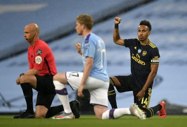 All players and officials also took a knee at the Etihad (Peter Powell/NMC Pool/PA)