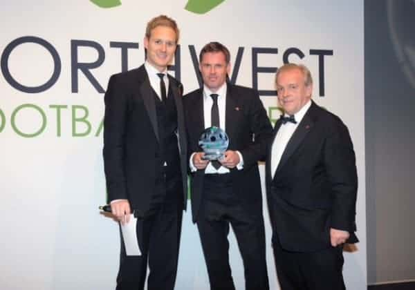 Jamie Carragher with his award last night.