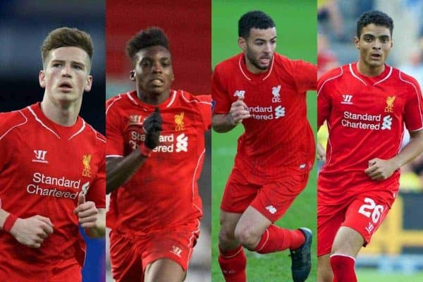Liverpool's potential debutants tonight: (L-R) Ryan Kent, Sheyi Ojo, Kevin Stewart and Tiago Ilori. (Photos via David Rawcliffe / Propaganda)