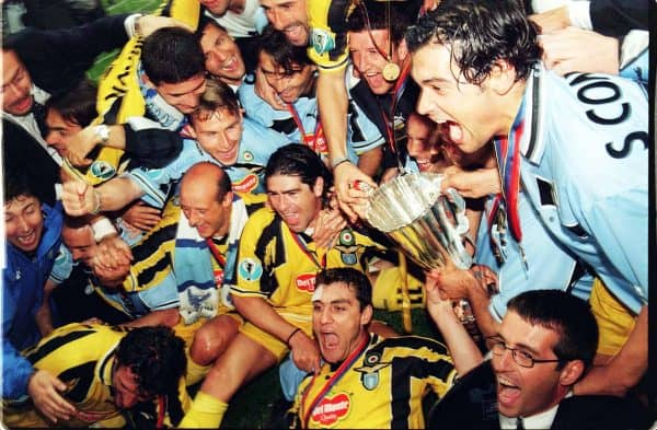 Lazio were the last winners of UEFA's last third competition, the Cup Winners' Cup, beating Mallorca 2-1 at Villa Park in 1999 (Rui Vera/PA Archive)