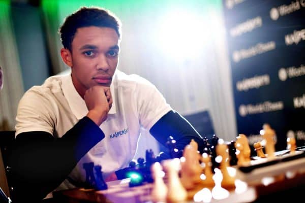 Alexander-Arnold pictured during the match against Carlsen (Anthony Devlin/PA)