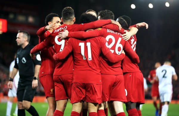 Liverpool players celebrate, squad numbers  (Peter Byrne/PA)