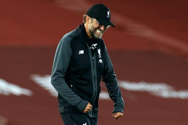 Liverpool manager Jurgen Klopp celebrates victory after the Premier League match at Anfield, Liverpool. (Phil Noble/NMC Pool/PA)